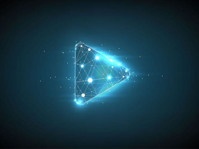 Play video. Low poly wireframe art on dark background. Video, movie, player or other concept illustration or background. Polygonal illustration with connected dots and polygon lines. 3D vector